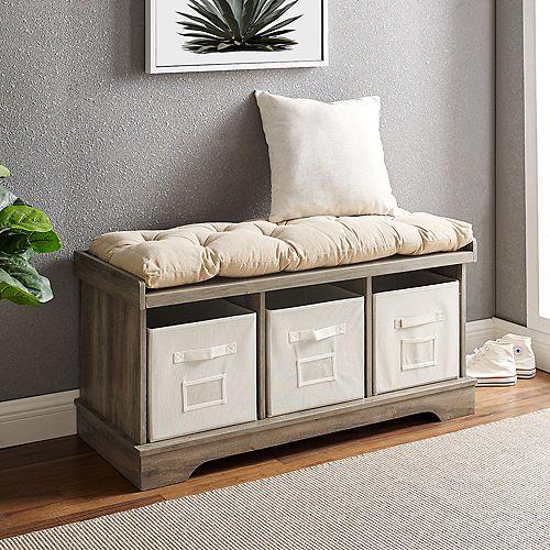 Modern Farmhouse Entryway Storage Bench with Storage Totes - Grey Wash