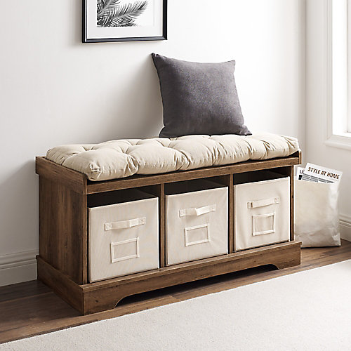 Modern Farmhouse Entryway Storage Bench with Storage Totes - Reclaimed Barnwood