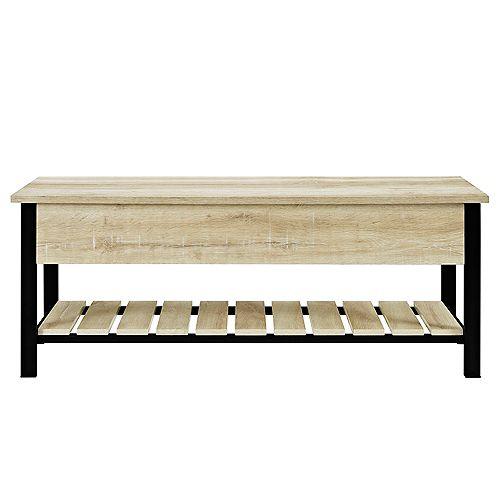 Modern Farmhouse Storage Bench with Hidden Storage - White Oak
