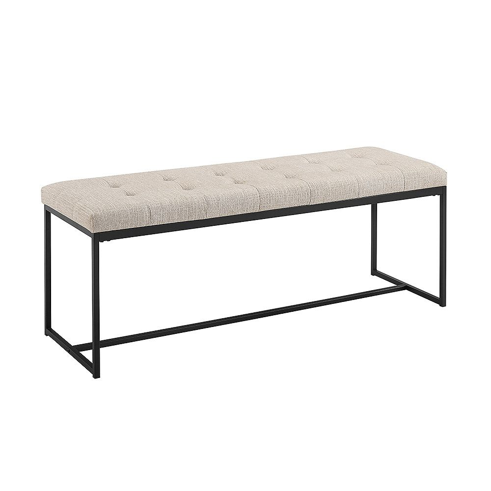 Welwick Designs Upholstered Tufted Accent and Entryway Bench - Tan