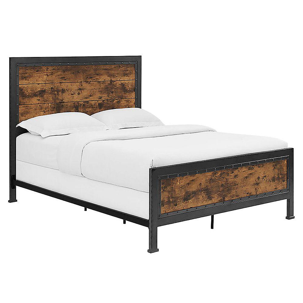 Welwick Designs Lit industriel en bois et métal queen size - Marron