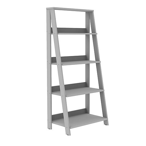 55-inch Gray Wood 4-shelf Ladder Bookcase with Open Back