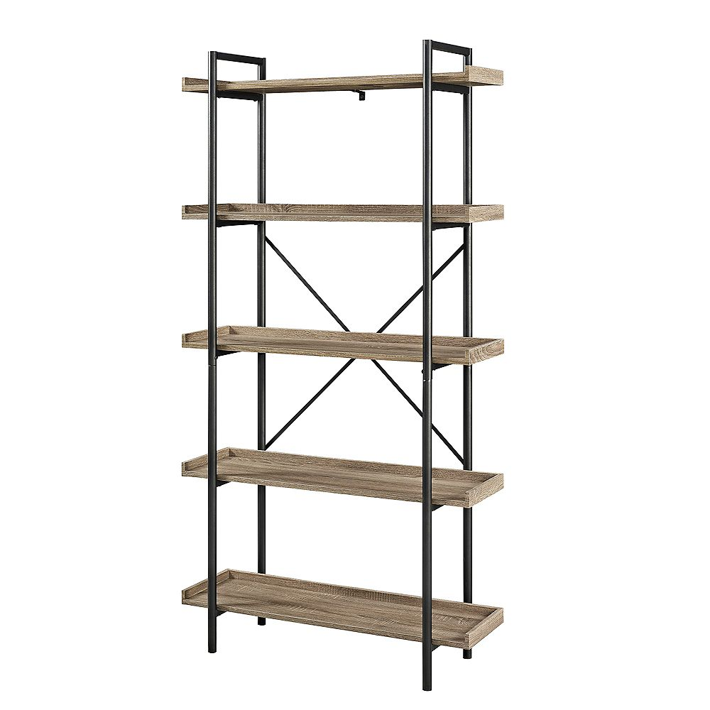 Welwick Designs 68-inch Driftwood/Black Metal 5-shelf Etagere Bookcase with Open Back