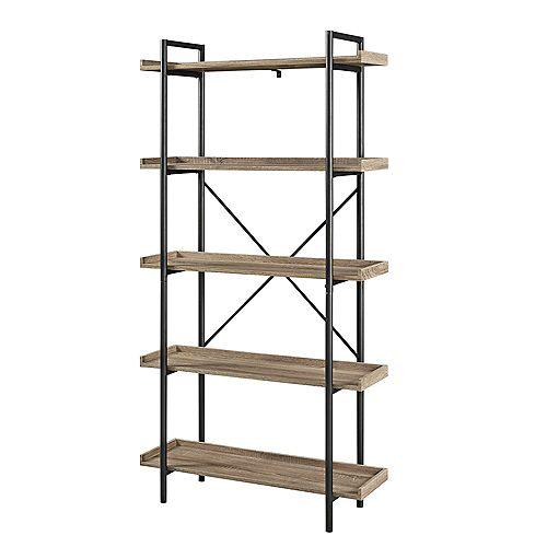 68-inch Driftwood/Black Metal 5-shelf Etagere Bookcase with Open Back