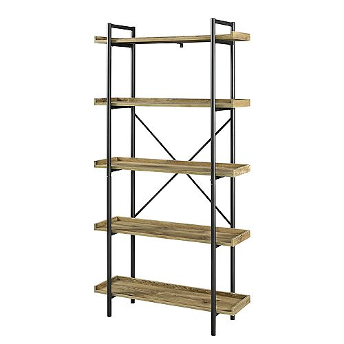 68 inch Industrial Metal Bookcase - Barnwood