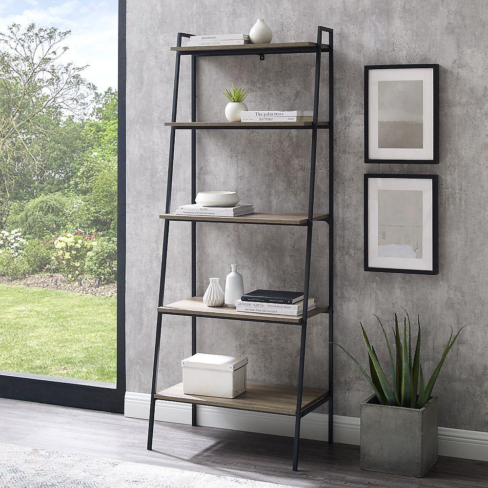 Welwick Designs 5 Shelf Industrial Ladder Bookcase - Grey Wash