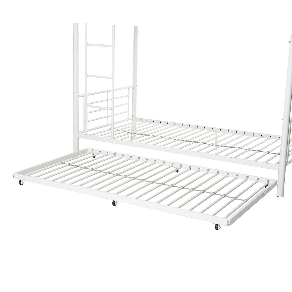 Welwick Designs Twin Roll-Out Trundle Bed Frame with Wheels- White