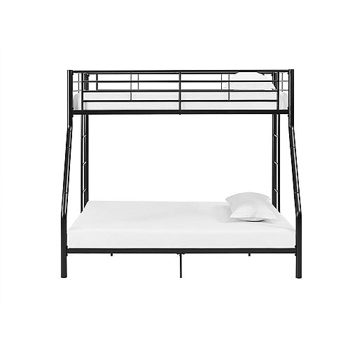 Welwick Designs Modern Metal Twin over Full Bunk Bed - Black