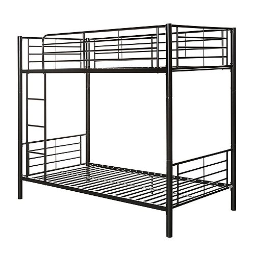 Modern Metal Twin over Twin Bunk Bed - Black
