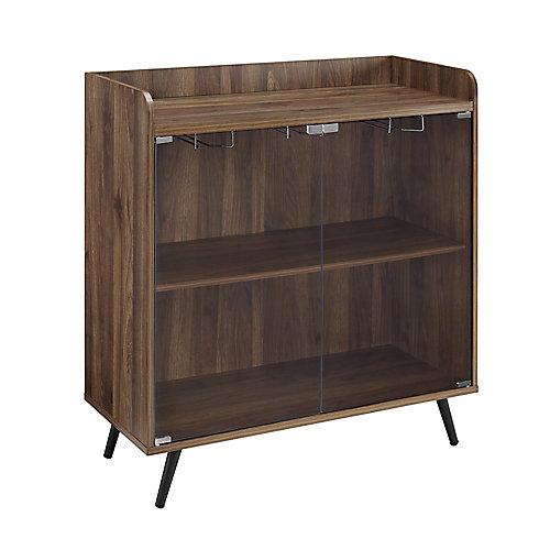 Mid Century Modern Bar Cabinet and Wine Rack - Dark Walnut