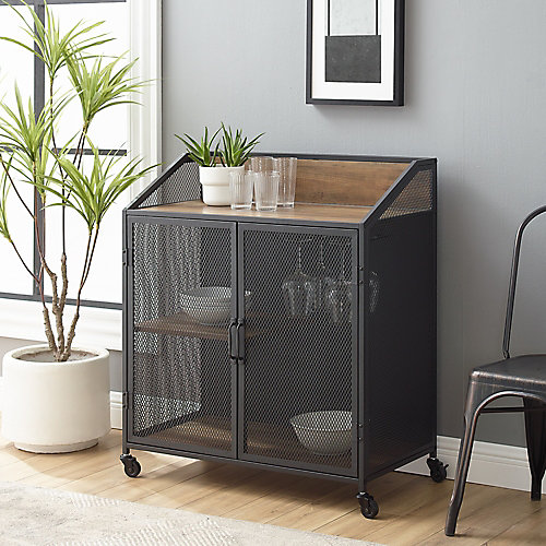 Industrial Mesh Buffet Bar Cabinet with Storage - Reclaimed Barnwood