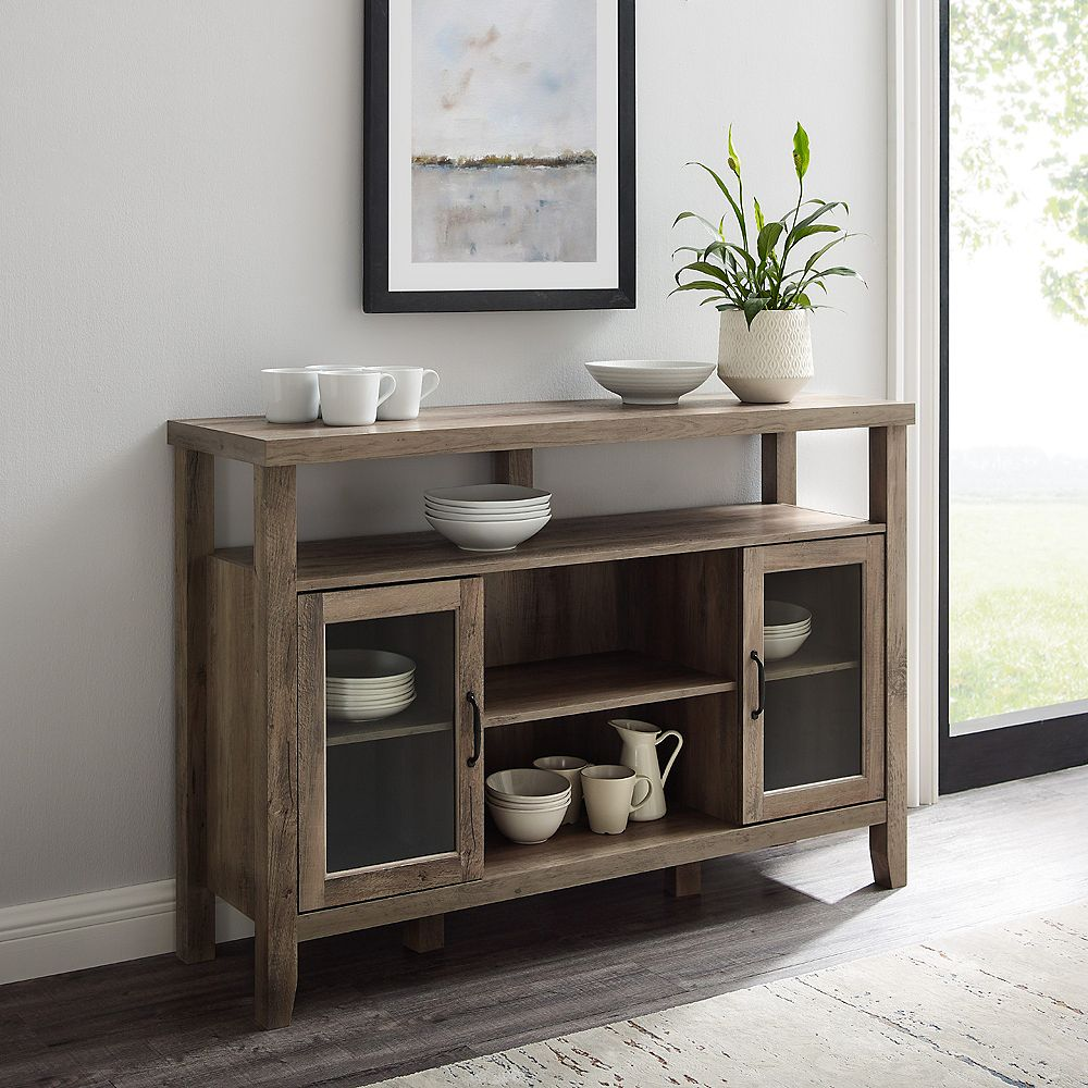 Welwick Designs Rustic Farmhouse TV Stand for TV's up to 56 inch - Grey Wash