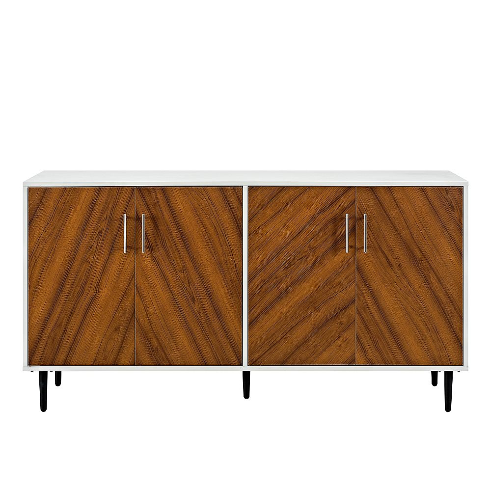 Welwick Designs Mid Century Modern TV Stand for TV's up to 64 inch - White/Teak