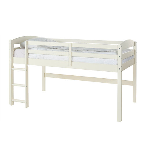 Classic Solid Wood Twin Over Loft Kid's Bed - White
