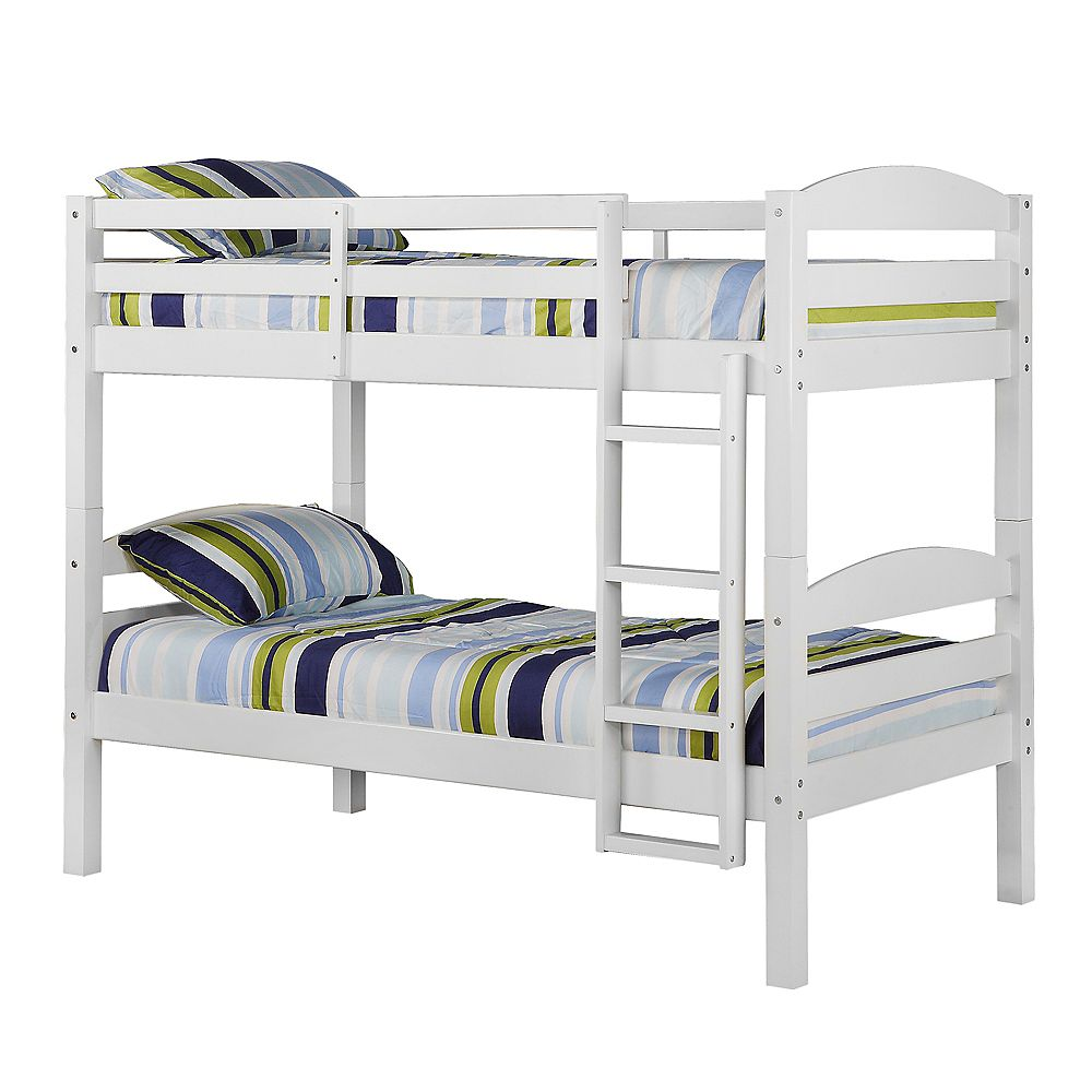 Welwick Designs Classic Solid Wood Twin Over Twin Bunk Bed White The Home Depot Canada