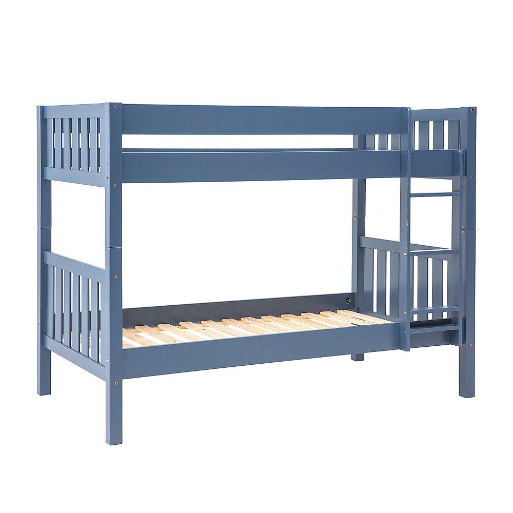 Welwick Designs Lits superposés simples en bois massif - Bleu marine