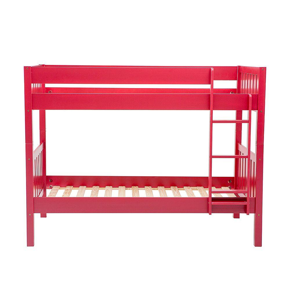 Welwick Designs Lits superposés simples en bois massif - Rouge
