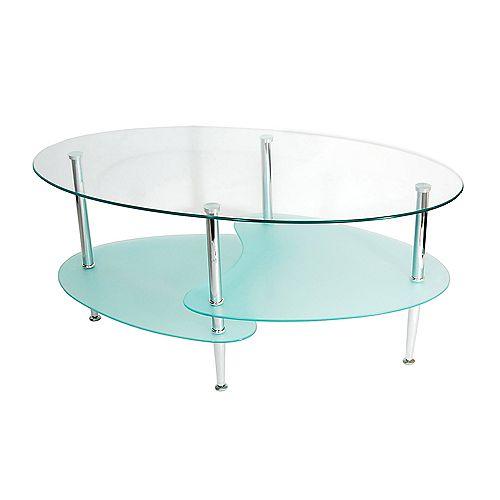 Table basse ovale en verre pour salon