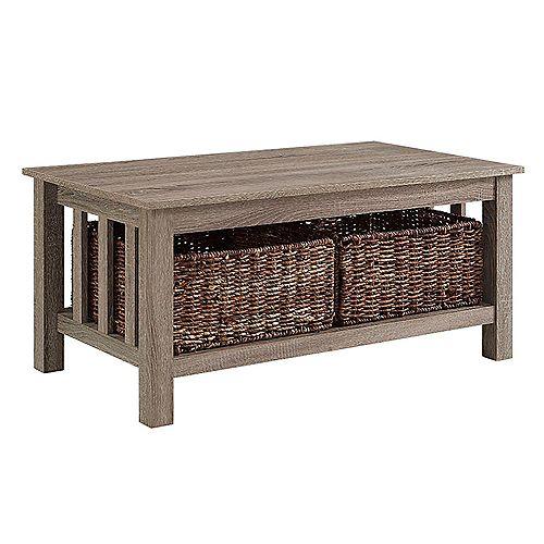 Table basse de rangement en bois de 101 cm (40 po) avec bacs de rangement - Bois flotté