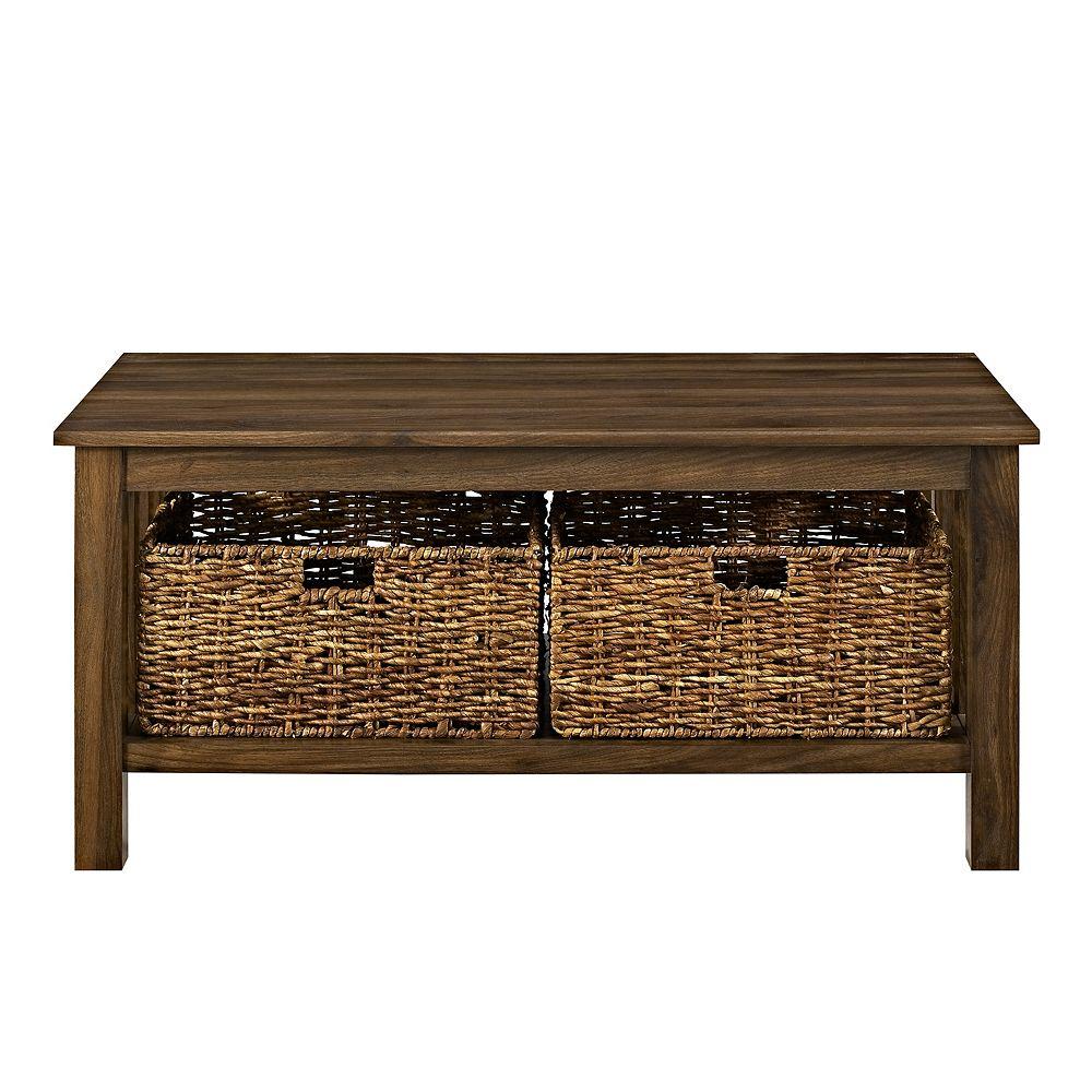 Welwick Designs Rustic Wood Coffee Table with Storage Baskets - Dark Walnut