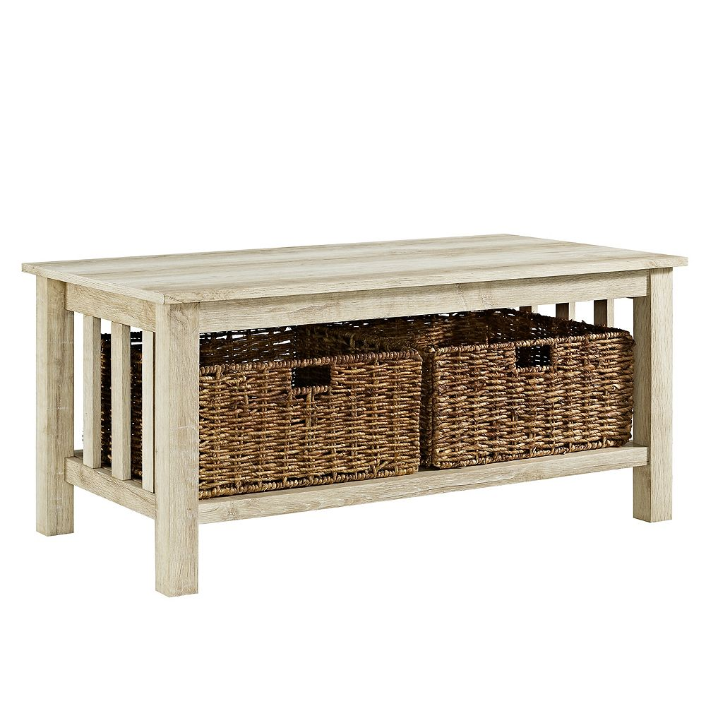 Welwick Designs Rustic Wood Coffee Table with Storage Baskets - White Oak