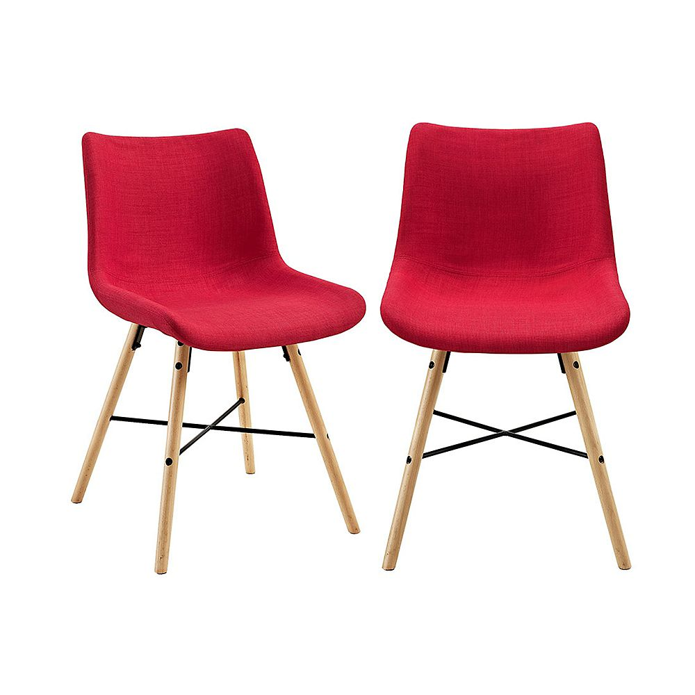 Welwick Designs Mid Century Modern Upholstered Dining Chair, set of 2 - Red