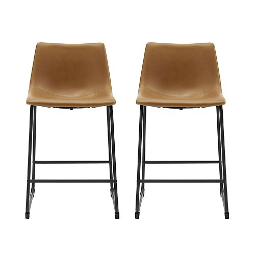 """24"""" Industrial Faux Leather Counter Stools, Set of 2 - Whiskey Brown"""