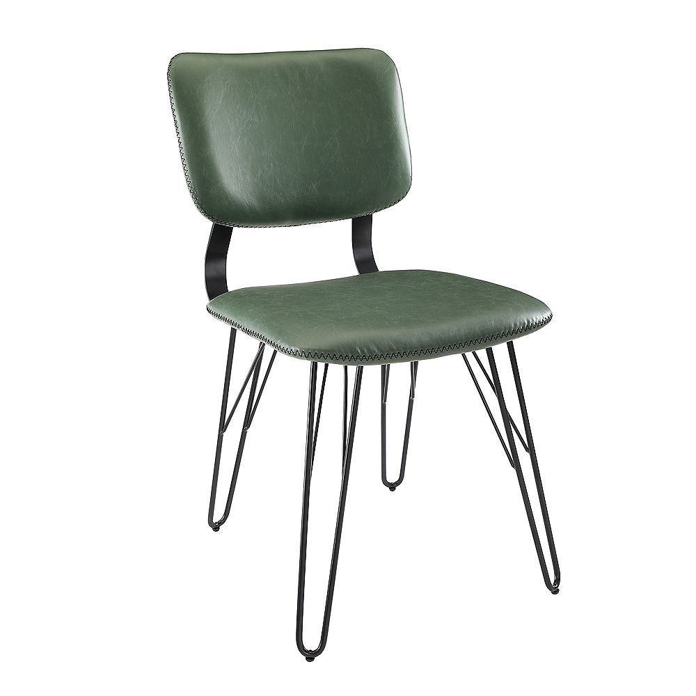 Welwick Designs Flax Back Green Accent Dining Chair with Black Stitching (2-Pack)