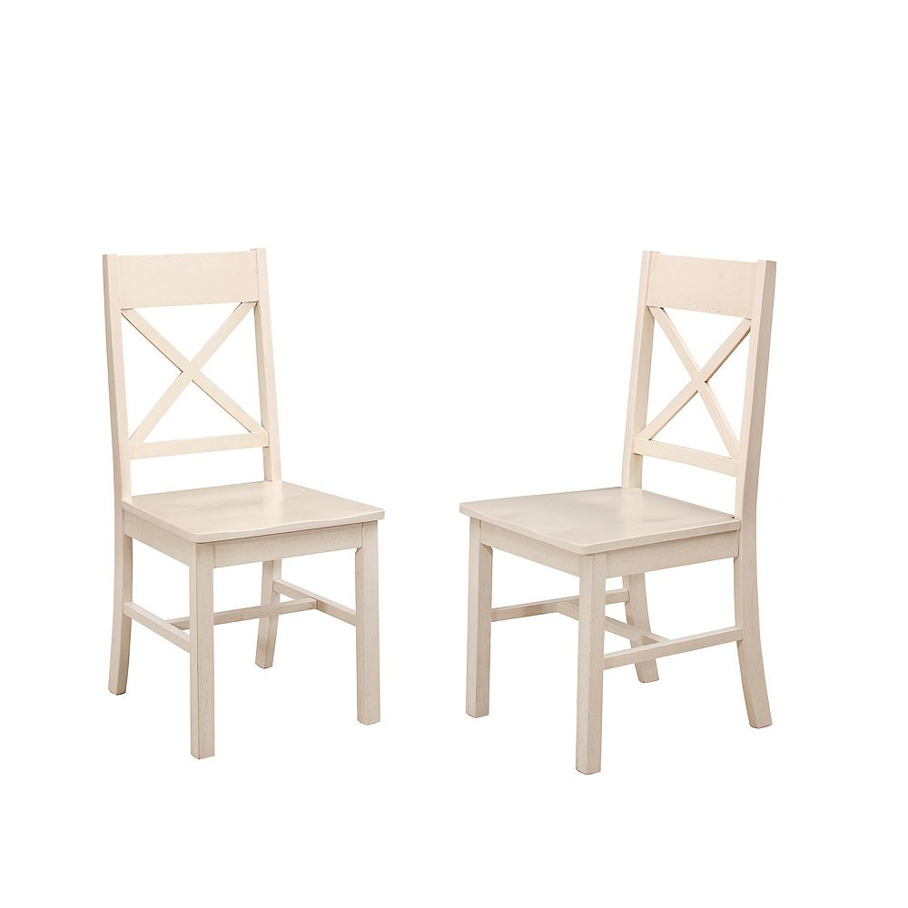 Welwick Designs Farmhouse X-Back Dining Chairs, Set of 2 - Antique White