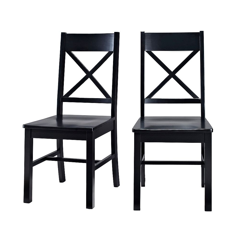 Welwick Designs Millwright Antique Black Wood Dining Chair (Set of 2)