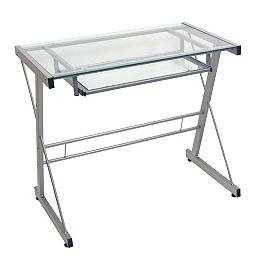 Bureau d'ordinateur en métal et verre pour bureau à domicile - Argent