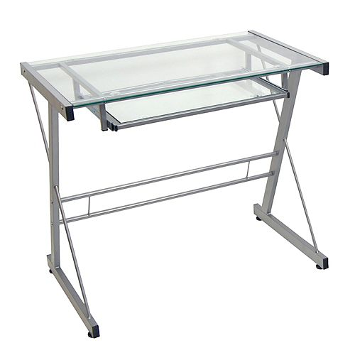 Simple Modern Metal and Glass Computer Desk - Silver