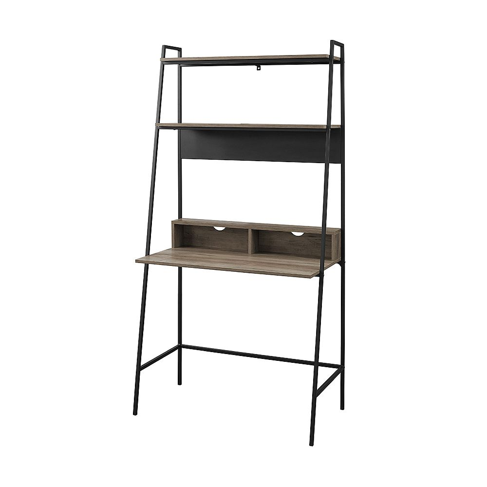 Welwick Designs 2 Shelf Modern Ladder Computer Desk Grey Wash The Home Depot Canada