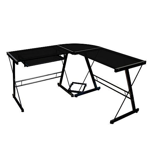 Modern  Glass Corner Computer Desk and Gaming Desk - Black