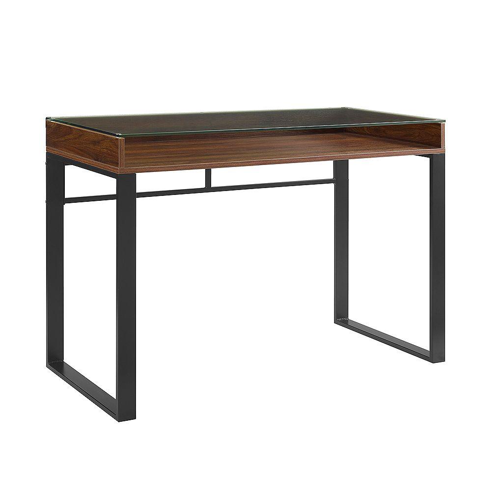 Welwick Designs Bureau moderne à plateau en verre de 106,6 cm (42 po) -Noyer foncé/Noir