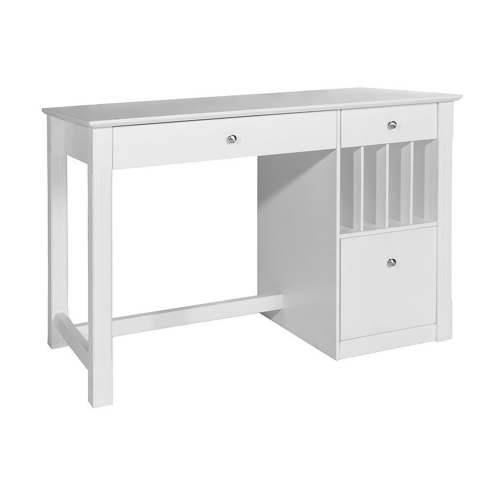 Welwick Designs 48-inch White Rectangular 3 -Drawer Computer Desk with Keyboard Tray