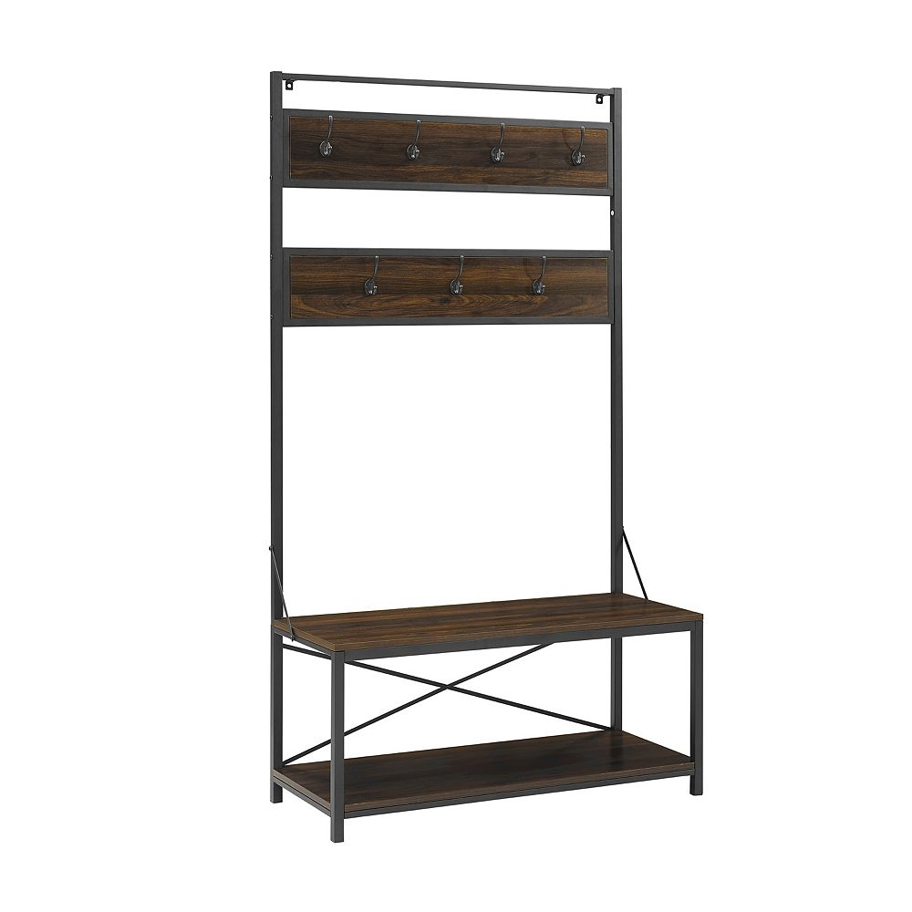Welwick Designs Farmhouse Entry Bench and Mudroom Hall Tree with Hooks - Dark Walnut