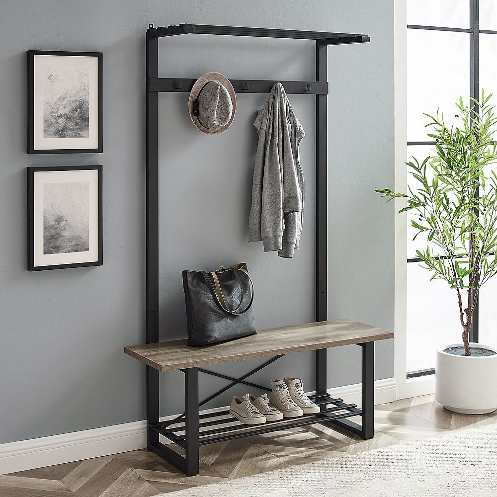Welwick Designs Urban Entryway Bench and Hall Tree - Grey Wash