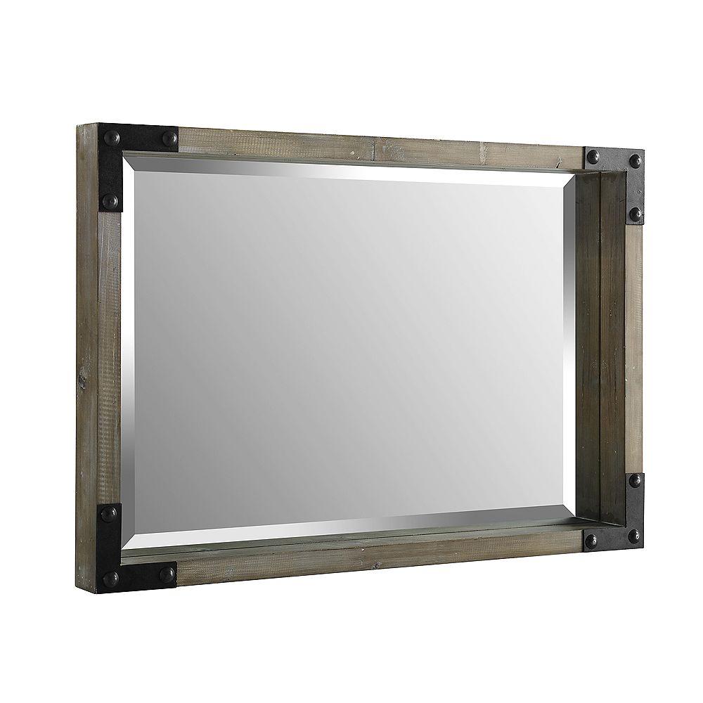 Welwick Designs Rustic Wood Rectangle Metal Wall Mirror