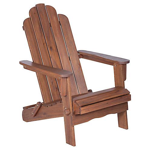 Acacia Wood Adirondack Outdoor Patio Chair - Dark Brown
