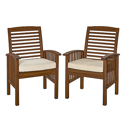Acacia Wood Outdoor Patio Chairs with Cushions, set of 2 - Dark Brown