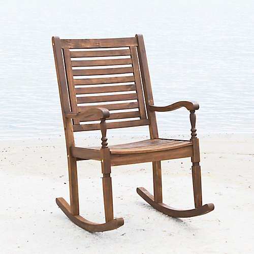 Wood Outdoor Patio Rocking Chair - Dark Brown