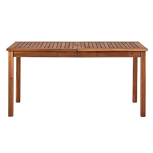Brown Rectangle Acacia Wood Simple Outdoor Dining Table