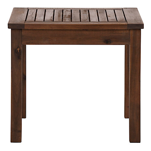 Patio Wood Side Table - Dark Brown