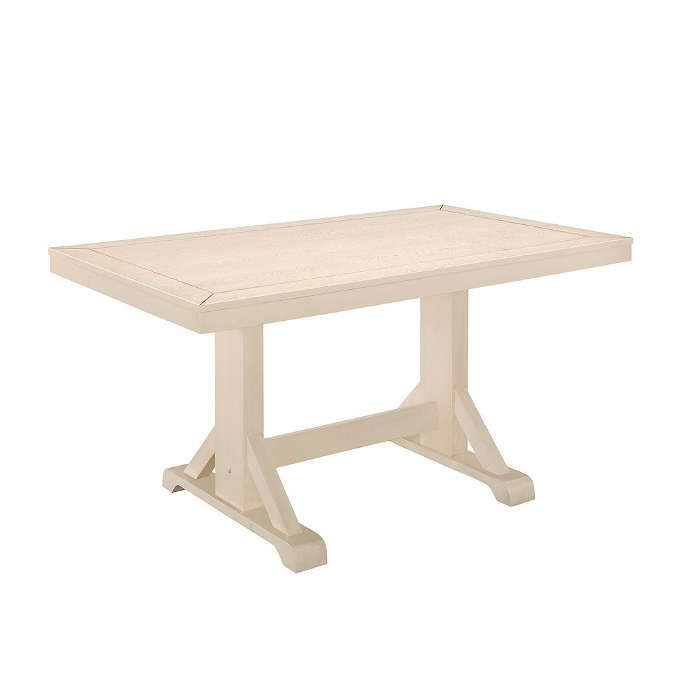 Welwick Designs 6 Person Double Pedestal Wood Dining Table - Antique White