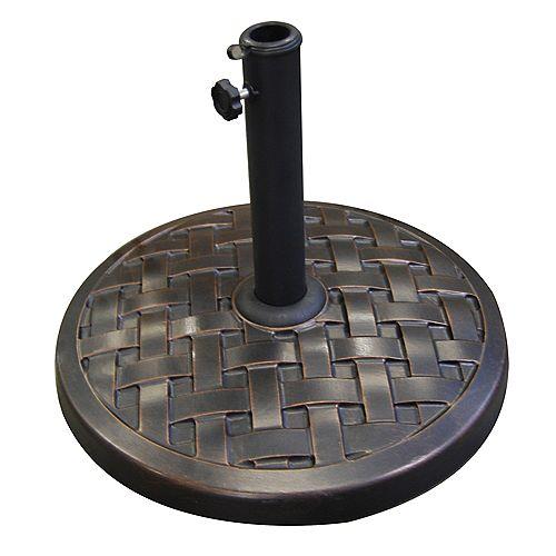 Weave Round Outdoor Patio Umbrella Base - Antique Bronze