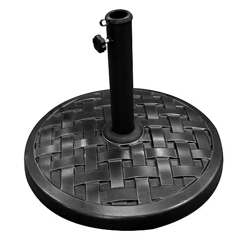 Weave Round Outdoor Patio Umbrella Base - Black