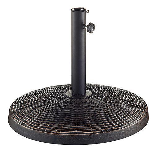 Wicker Style Round Outdoor Patio Umbrella Base- Antique Bronze