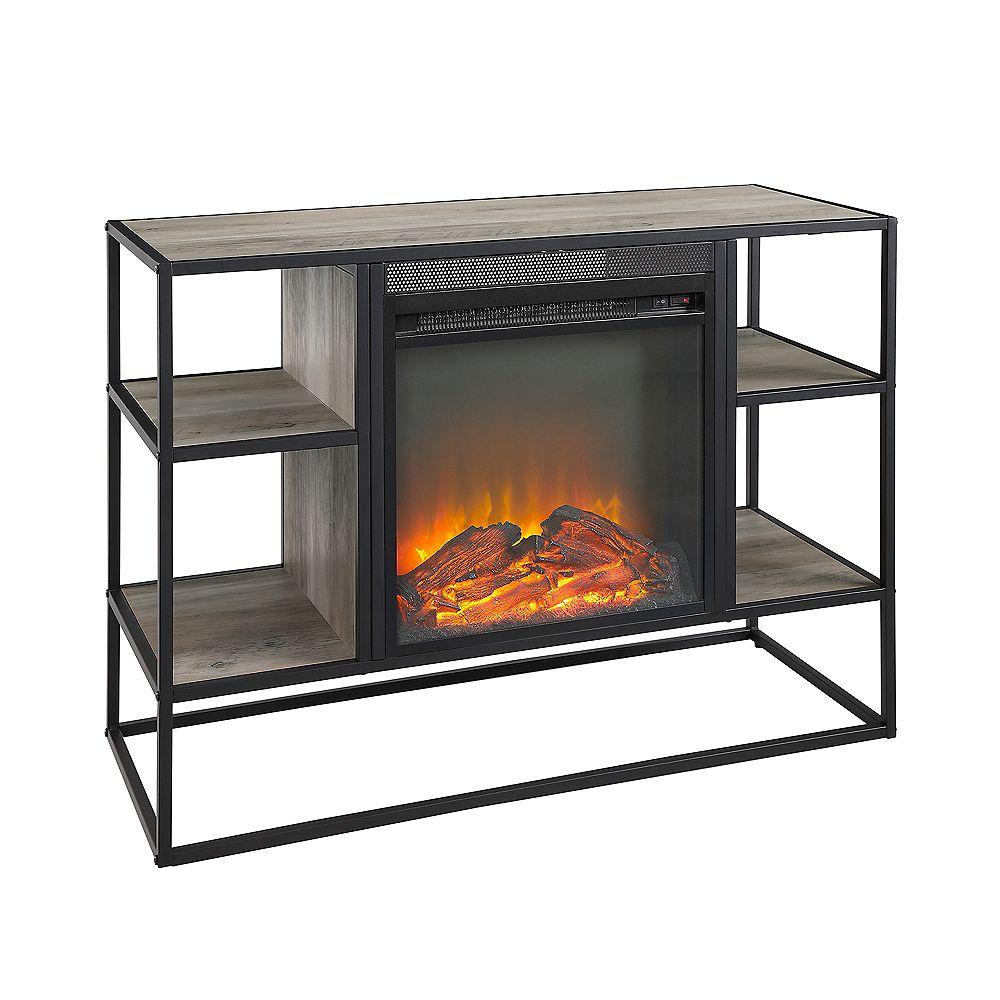 Welwick Designs Console de rangement support tv pour foyer à rayons ouverts en métal et bois, 40 '' - Lavis gris