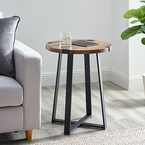 Rustic Industrial Fireplace TV Stand for TV's up to 44 inch- Mocha
